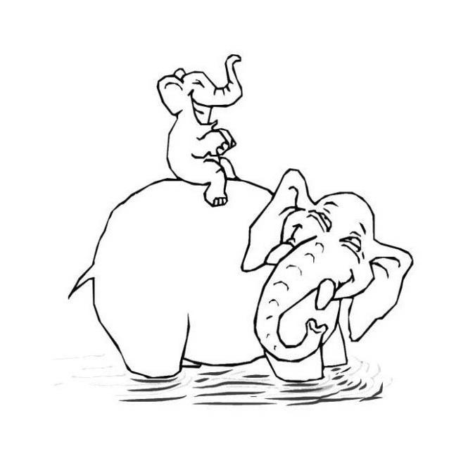 Elefante da colorare 14