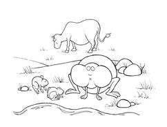 Mucca e bufalo da colorare 8